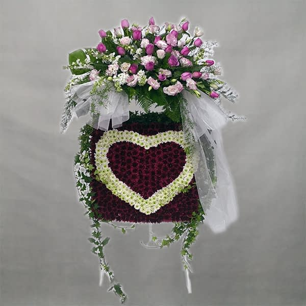 heart shape flower arrangement for funeral
