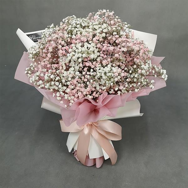 pink baby breath bouquet