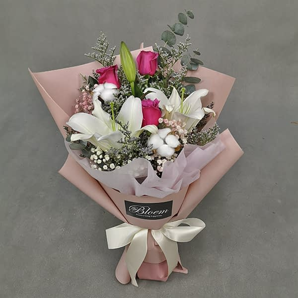 HB248 1 Rm200 2 Lily 3 Roses 2 Cotton Flowers with Baby and Eucalythus