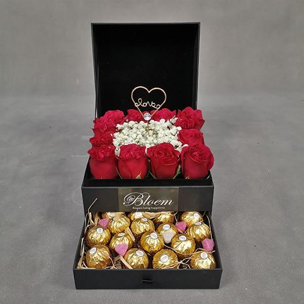 FB148 1 Rm300 Premium Box with 12 Roses Baby Breath and 16 Ferrero Rochers
