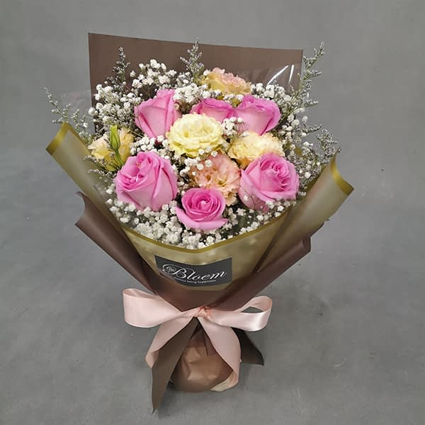 HB241 1 Rm150 6 Pink Roses Champagne Eustoma and Baby Breath