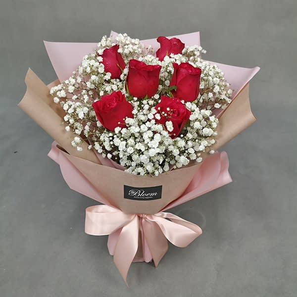 HB236 1 Rm80 6 Red Roses Baby Breath