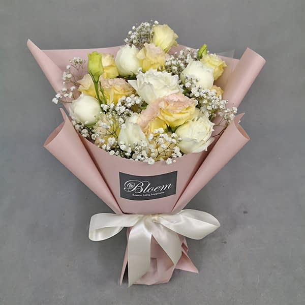 HB244 1 Rm180 6 White Roses Champagne Eustoma and Baby Breath