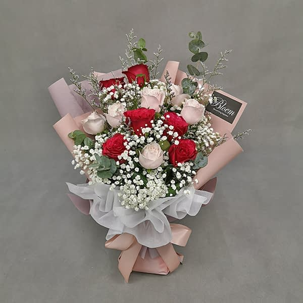 HB249 1 Rm200 6 Red Roses 6 Pink Roses Baby BreathCaspia and Eucalythus